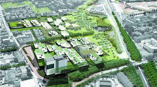 Vista del nuovo quartiere, in primo piano l'ex mercato ortofrutticolo