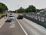 Il ponte sullo scolo Lama in via Trieste, interessato dalla prova di carico (foto Google Maps)
