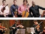 Sopra, il Quartetto di Cremona; sotto il Quartetto Guadagnini