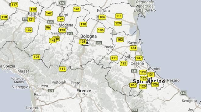 La qualità dell'aria di oggi, secondo il sito di Arpae