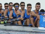 Bruno Rosetti (quinto da sinistra) nell'equipaggio azzurro dell'otto Senior