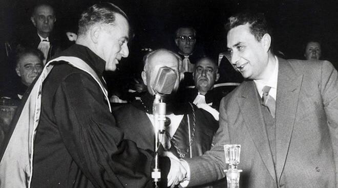 Enrico Mattei con Aldo Moro