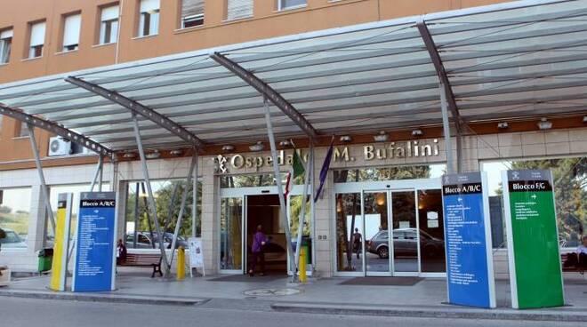 L'ingresso dell'ospedale Bufalini, struttura da circa 500 posti letto