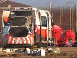 Il personale del 118 sulla pista da cross a Russi, dopo l'incidente mortale di domenica 21 gennaio