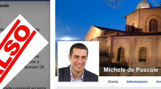 A sinistra il fake, a destra la vera pagina del sindaco di Ravenna