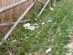 Rifiuti abbandonati vicino alle recinzioni, Parco del Loto di Lugo