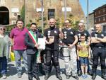 Nella foro l'arrivo dei motociclisti in piazza Baracca