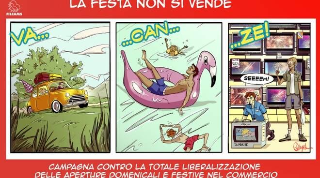 Il manifesto-vignetta della campagna dei sindacati contro il lavoro festivo