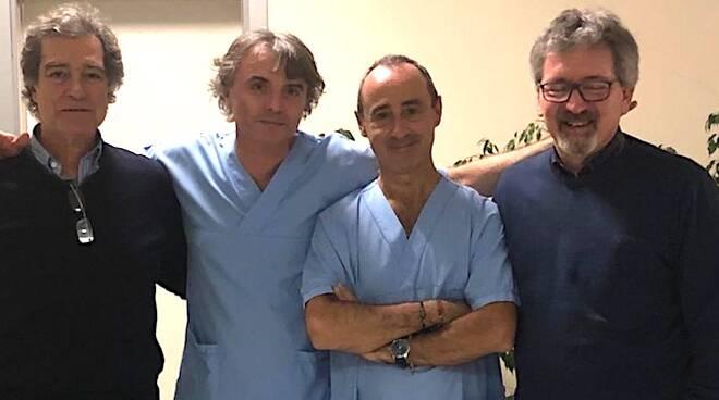 Da sinistra Mauro Giovanardi, Carlo Fabbri, Alessandro Repici e il dottor Omero Triossi di Ravenna