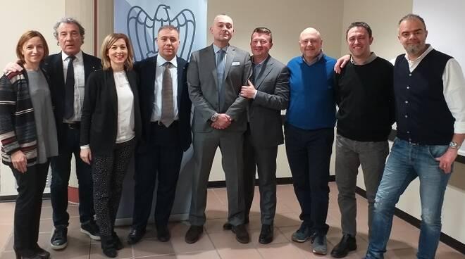 Danilo Casadei con il Direttivo della Piccola Industria di Forlì-Cesena (assenti Emanuele Rinieri e Alessandro Zaccheroni)