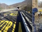 Segnaletica orizzontale e sensori radar per monitorare la stabilità sul viadotto
