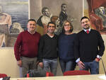 Da sinistra: Mauro Spazzoli, il segretario regionale Cgil Luigi Giove, Silla Bucci, Alessandro Celli