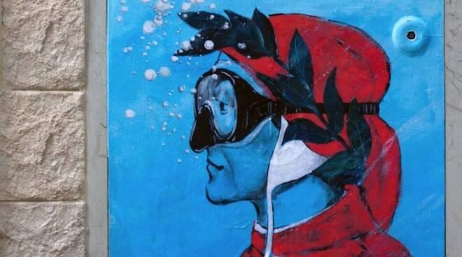 L'opera di Blub che rappresenta Dante Alighieri apparsa in città (fonte Bonobolabo)