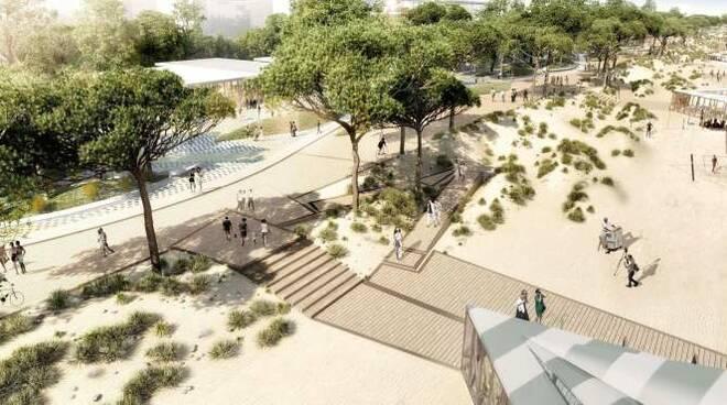 Uno dei rendering del progetto del Parco del Mare a Rimini, curato dallo studio Miralles Tagliabue
