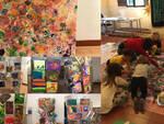 Alcuni scatti dell'allestimento e un momento dei laboratori artistici