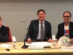 Da destra il vicepresidente Enea Casadei Baldelli, il presidente Marco Rontini e il direttore Claudio Bassi