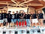 Nella foto: il Volley Club Cesena fa festa sul palco dei Giardini Savelli