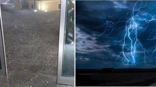 A sinistra, la grandinata che ha colpito ieri sera Civitella di Romagna (foto da Condifesa Ravenna) e, a destra, lampi (foto di repertorio)