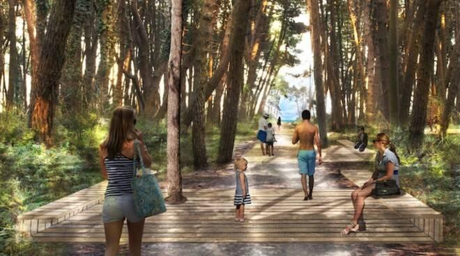 Rendering del progetto Parco Marittimo per la riqualificazione degli stradelli retrodunali