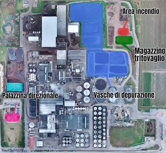 foto aerea dello stabilimento che mostra le zone interessate dall'evento e nominate all'interno del comunicato.