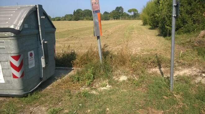 """""""indecente"""" fermata dell'autobus in via Sant'Alberto a Ravenna"""