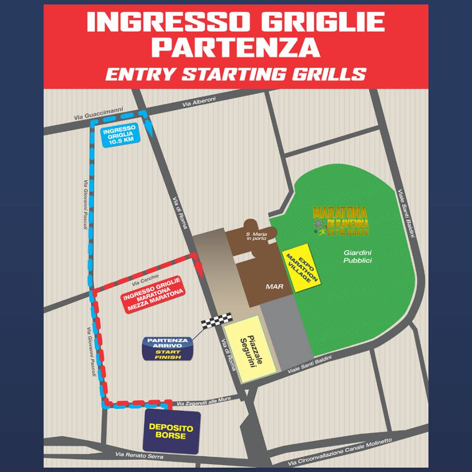 ACCESSO ALLE GRIGLIE DI PARTENZA DI DOMENICA 10 NOVEMBRE maratona ravenna