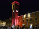 La Torre Civica di Bagnacavallo s'illumina di rosa a favore della ricerca contro il tumore al seno