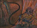 Lucifero - Inferno, Canto XXXIV. Mosaicista esecutore: Giuseppe Salietti. Cartone di Aligi Sassu.