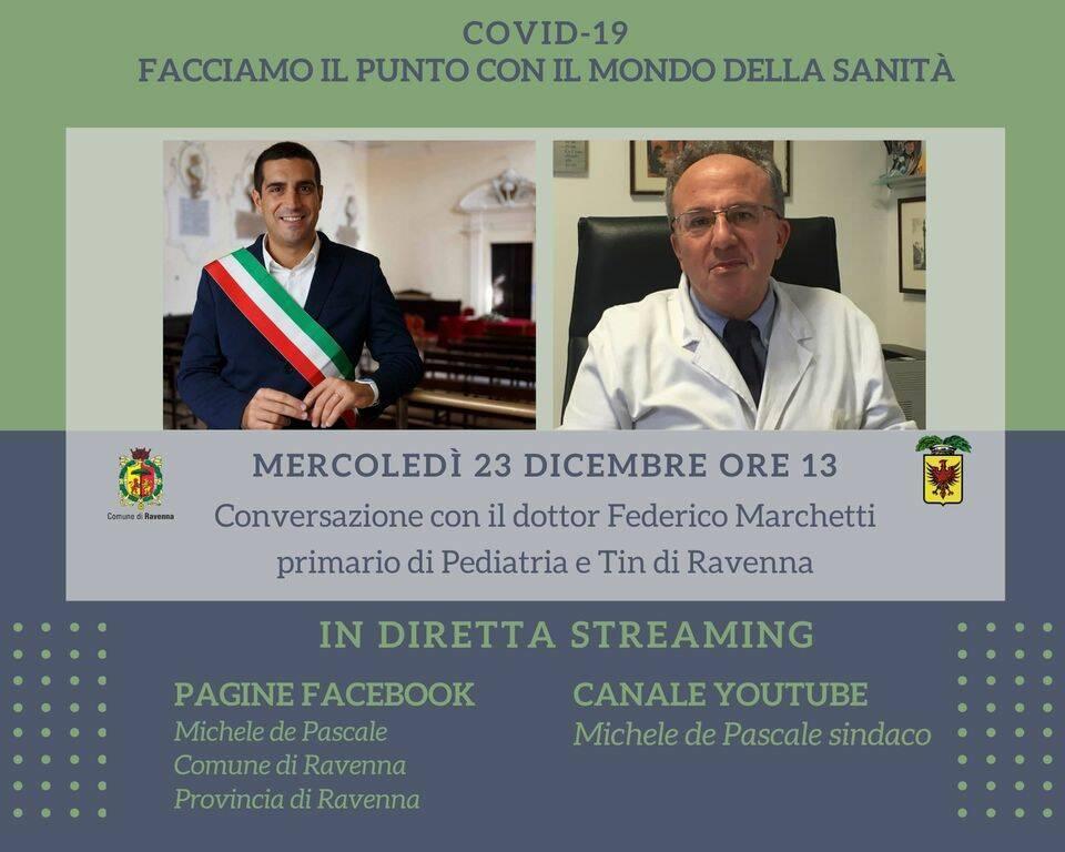 Covid, diretta streaming per fare il punto sulla situazione col Sindaco de Pascale e il dottor Marchetti