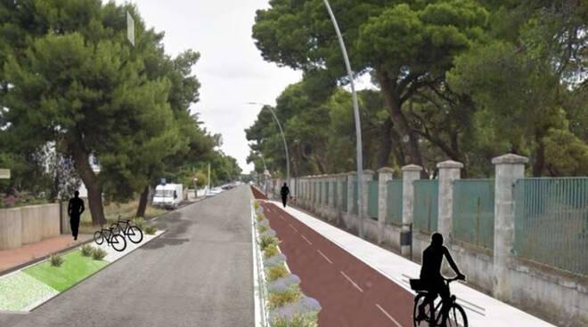 pista ciclabile pedonale ciclopedonale via jelena gora milano marittima