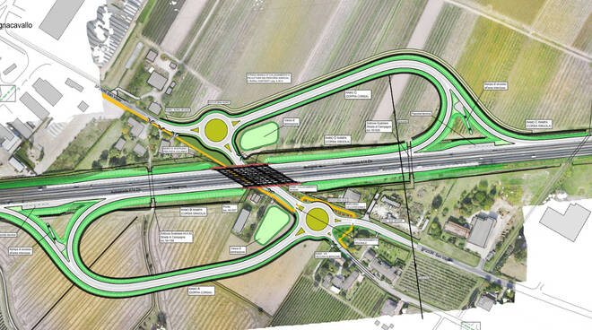 Bagnacavallo - cavalcavia dell'A14Dir in località Borgo Stecchi e progetto