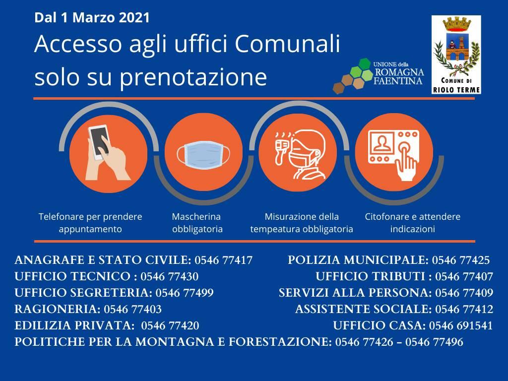 Covid a Riolo Terme: nuove misure per l'accesso agli uffici comunali