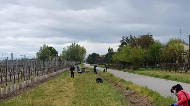 i volontari della consulta e dell'associazione Bizzuno Insieme ripuliscono il fosso di Via Tomba