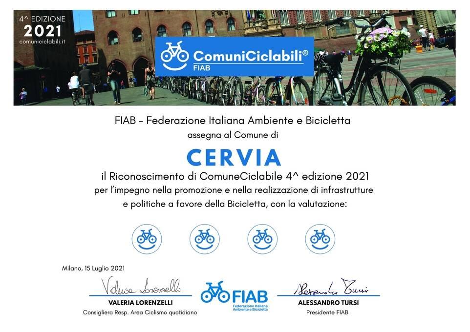 FIAB-Comuni Ciclabili: anche Cervia riceve la bandiera gialla della ciclabilità italiana 2021