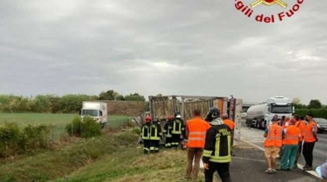 Scontro mezzi pesanti A14