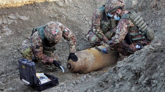 Operazioni di disinnesco del residuato bellico a Granarolo Faentino